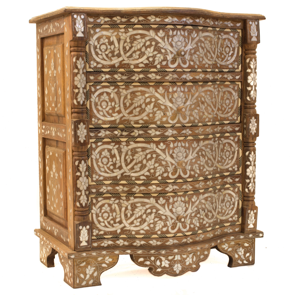 Mother Of Pearl Bow Fronted Chest Of Drawers Artiquea